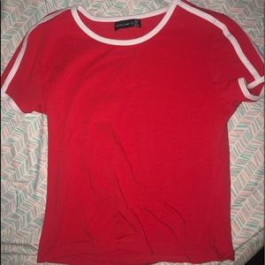 Tops - Red and white crop top